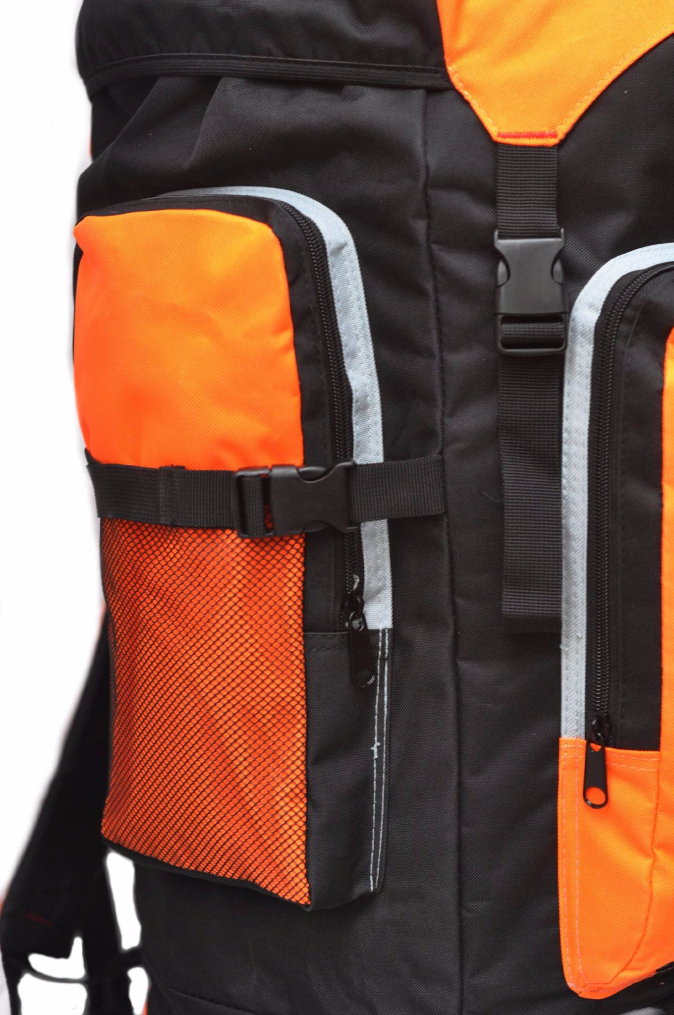 Extra Large foolsGold® Hiking Camping Travel Backpack - Black Orange d1fe6e2e3698a